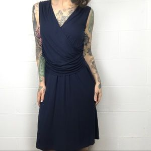 THEORY Sleeveless Navy Cross Front Dress